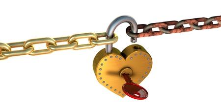 3d illustration of heart shape padlock and chains, over white background Stock Illustration - 17885609
