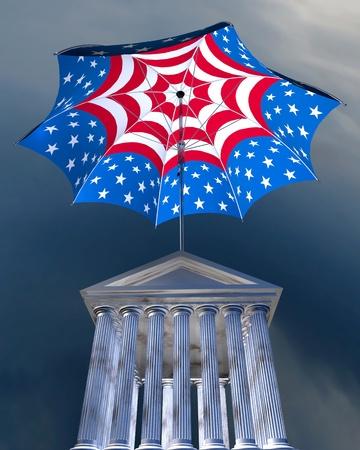 bourse: 3d illustration of big stars   stripes umbrella standing over stocks exchange building