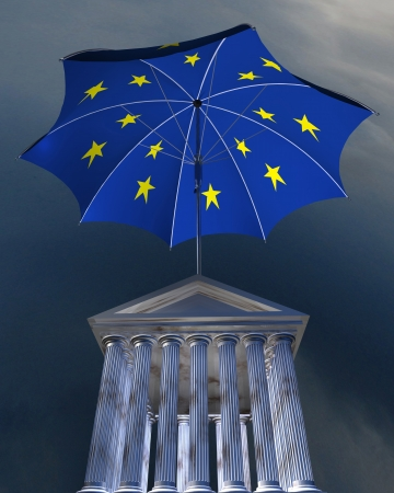 bourse: 3d illustration of big europe-flag umbrella standing over stocks exchange building Stock Photo