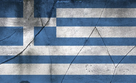 recession: Greek flag over a cracked stone background