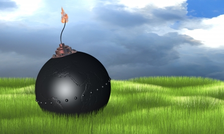 3d illustration of round bomb engraved as earth globe  africa  on green grass