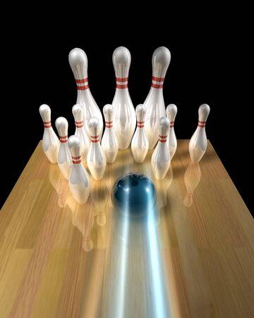 3d illustration of a bowling ball striking pins