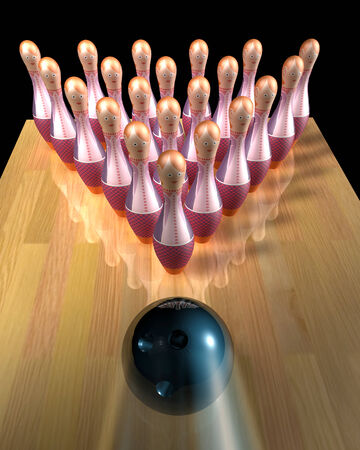 dismiss: 3d illustration of a bowling ball striking  Stock Photo