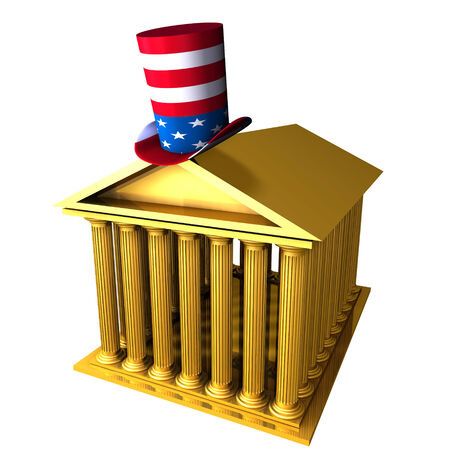 3d illustration of american top hat standing over stocks exchange building
