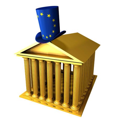 bourse: 3d illustration of european top hat standing over stocks exchange building Stock Photo
