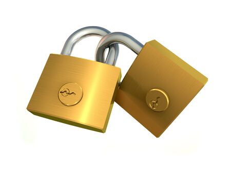 3d illustration of two chained padlock on white background Stock Photo