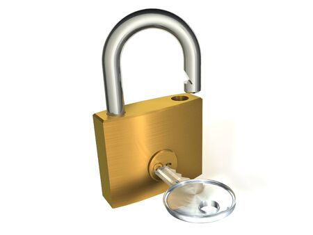 3d illustration of opened padlock whith key on white background