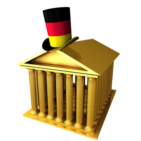 3d illustration of German top hat standing over stocks exchange building