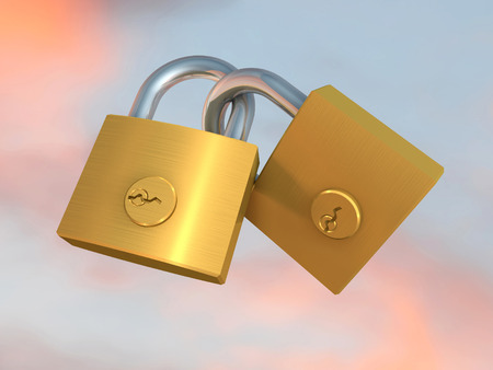 3d illustration of two chained padlock on colored background