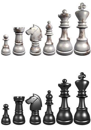 3d illustration of chess board on white background