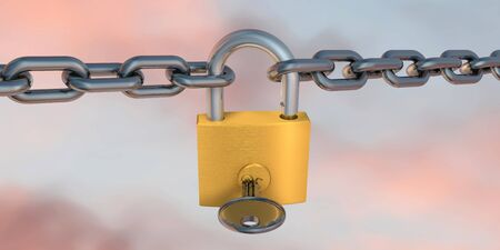 3d illustration of padlock and chains on colored background