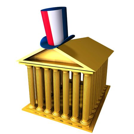 bourse: 3d illustration of French top hat standing over stocks exchange building