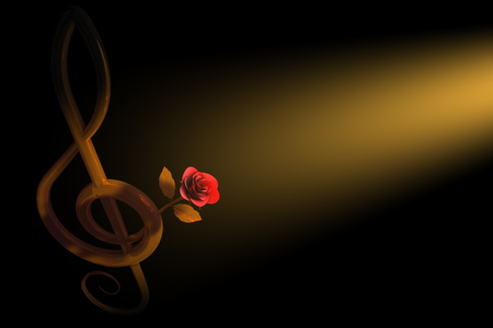 key signature: 3d illustration of a golden treble clef with a pink rose over dark background