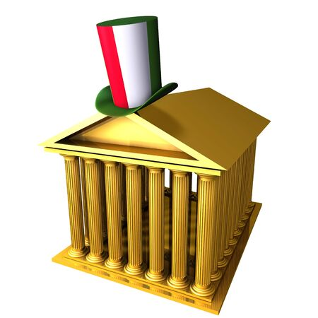 bourse: 3d illustration of Italian top hat standing over stocks exchange building Stock Photo