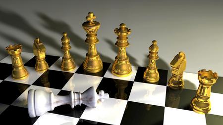 3d illustration of chess board on dark background