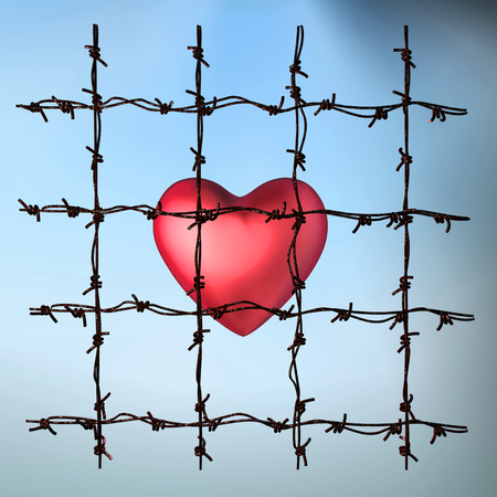 3d illustration of a caged heart on light background