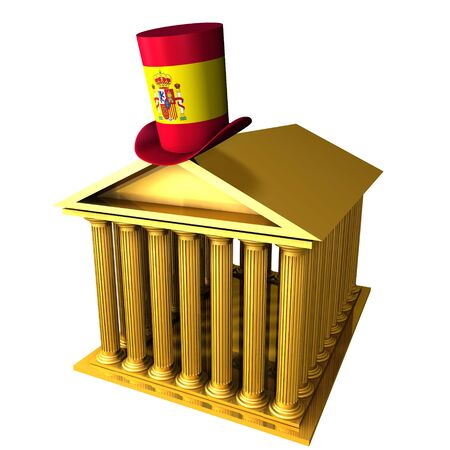 bourse: 3d illustration of Spanish top hat standing over stocks exchange building
