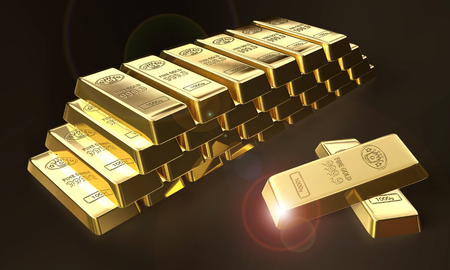 3d illustration of stacked bars of gold bullions