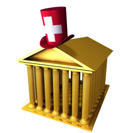 bourse: 3d illustration of Swiss top hat standing over stocks exchange building