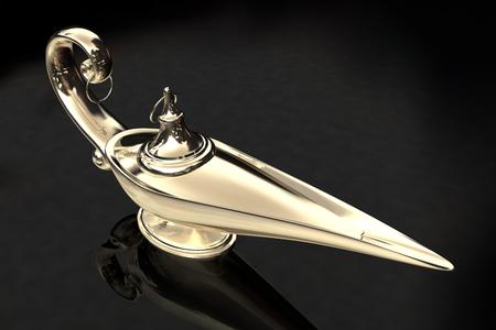 3D Illustration of Silver Genie lamp on dark background