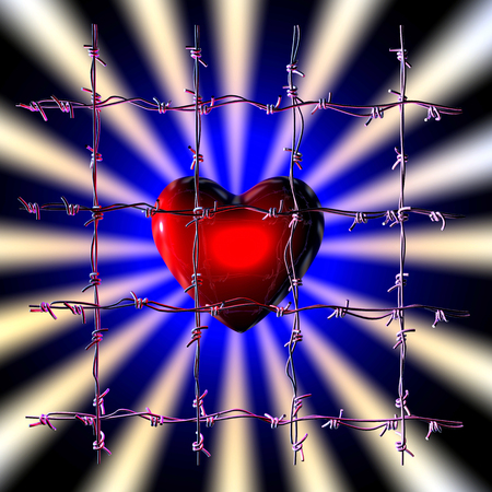3d illustration of a caged heart on dark background
