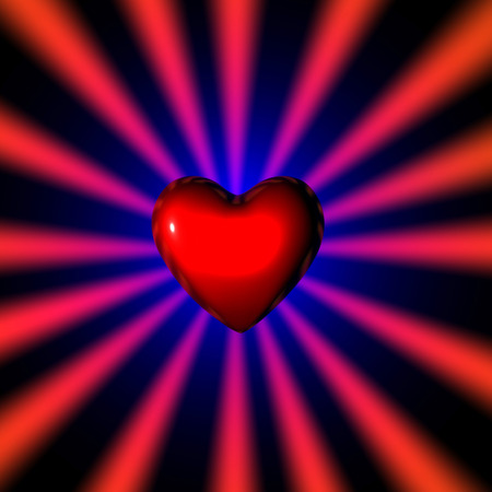 3d illustration of a sparkling heart on dark background Stock Photo