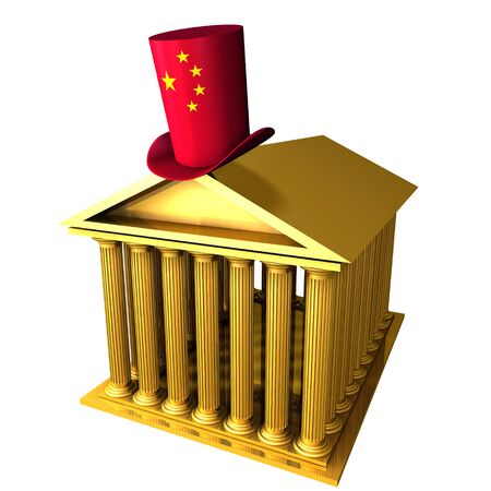 bourse: 3d illustration of Chinese top hat standing over stocks exchange building
