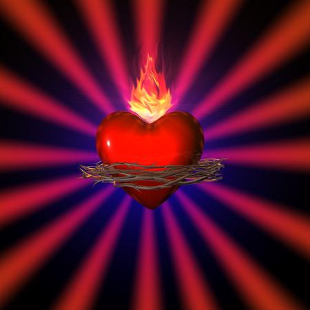 black maria: 3d illustration of a sacred heart on red background