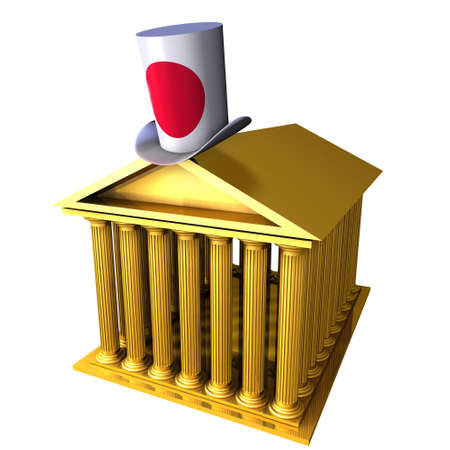 bourse: 3d illustration of Japanese top hat standing over stocks exchange building