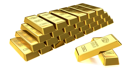 commodities: Ilustración 3D de barras apiladas de lingotes de oro