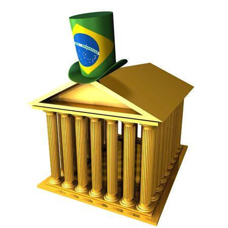 bourse: 3d illustration of Brazilian top hat standing over stocks exchange building