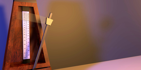 Illustration of metronome with pendulum in motion Stock Photo