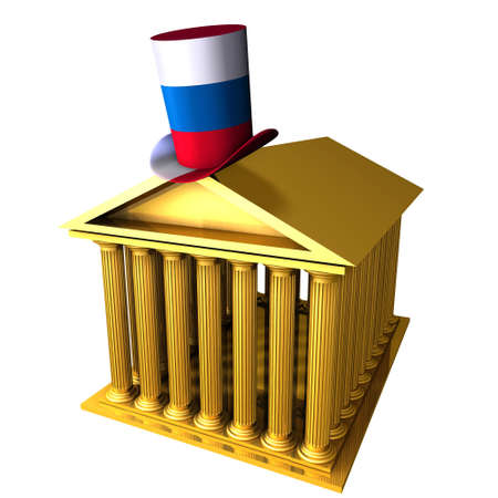 bourse: 3d illustration of Russian top hat standing over stocks exchange building