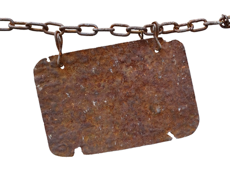 Rusty metal plate hanging on a chain
