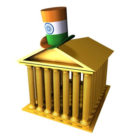 pilaster: 3d illustration of Indian top hat standing over stocks exchange building