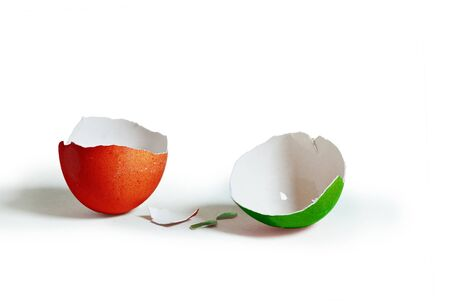 Double colored (italian flag reference), broken egg Stock Photo