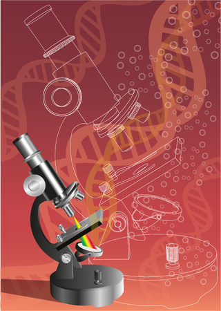 Illustration of a microscope with dna string Illustration