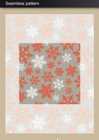Seamless Pattern - Winter inspired design - Red snowflakes over neutral background Illustration