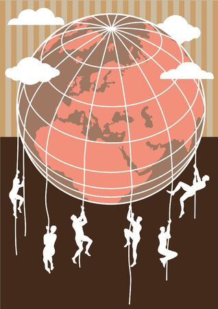Conceptual image of men climbing earth globe. Immigration from southern hemisphere Illustration