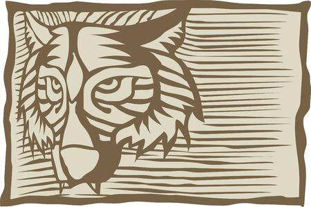 Vector illustration of a framed wolfs head