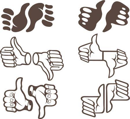 Illustration of six thumb updown stylized symbols