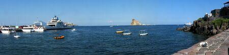 panarea: Panoramic shot of Panarea Island (harbor) - Messina - Sicily - Italy