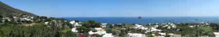 Panoramic shot of Stromboli Island (harbor) - Messina - Sicily - Italy Stock Photo