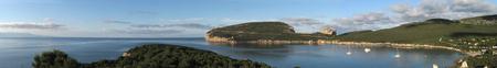 Panoramic shot of Capo Caccia Bay - Alghero - Sardinia Stock Photo