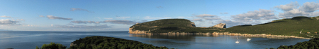 capo: Panoramic shot of Capo Caccia Bay - Alghero - Sardinia Stock Photo