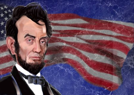 1809-1865 Abraham Lincoln 16th President of the United States of America - digital portrait over American flag
