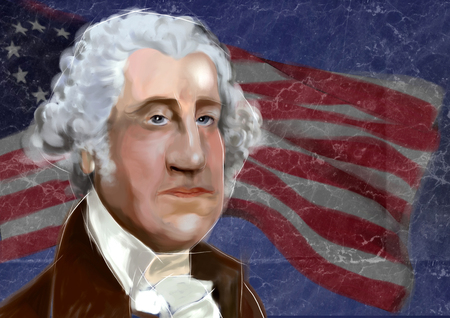 1732 - 1799 George Washington 1st President of the United States of America  - digital portrait over American flag