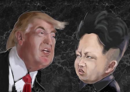 Nov 2017 - Donald Trump 45 ° presidente de los Estados Unidos de América Vs Kim Jong-un líder coreano - retratos de personajes Foto de archivo - 90644596