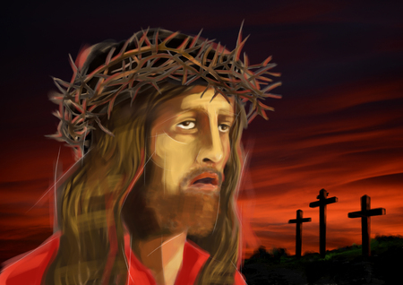 Digital illustration of the suffering face of Jesus Christ, looking at the three crosses on the reddish sunset