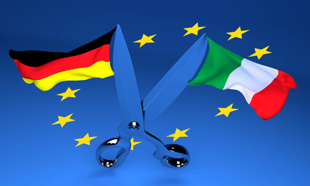 3D Illustration of spread metaphor. Open Scissors with Italy and Germany flags flying in opposite directions